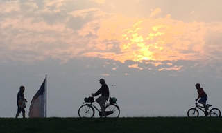 Bicycle tour at sunrise on Norderney